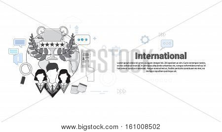International Social Media Network Internet Connection Communication Web Banner Vector Illustration