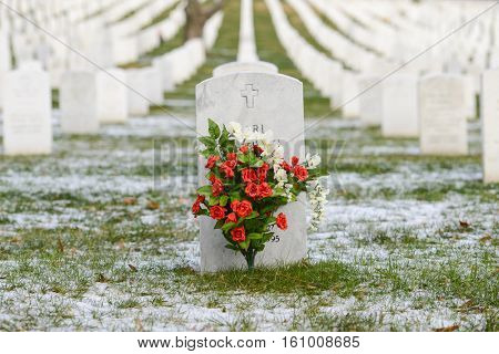 Headstone in Arlington National Cemetery in Winter - Near to Washington D.C.