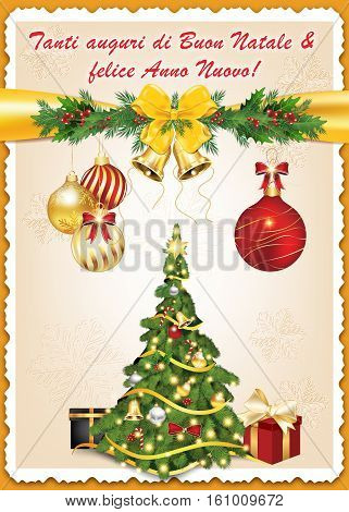 Classic Italian message for winter holidays: Tanti auguri di Buon Natale & felice Anno Nuovo - Merry Christmas and Happy New Year!  greeting card, also for print