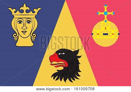 Flag of Stockholm County is a county on the Baltic sea coast of Sweden. Vector illustration