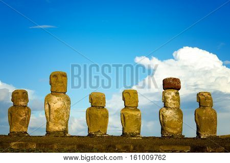 View of six Moai on Easter Island in Chile