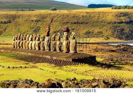 Row of Moai statues at Ahu Tongariki on Easter Island in Chile