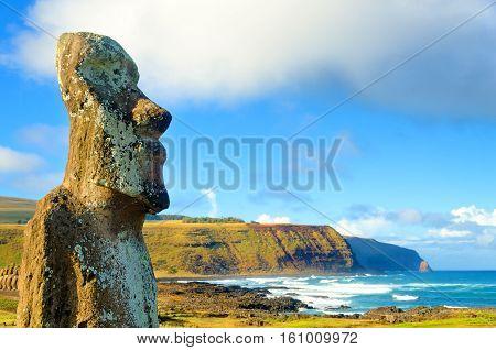 Closeup of large Moai at Ahu Tongariki on Easter Island Chile