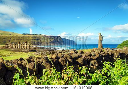 Stunning view of Moai and Pacific Ocean on Easter Island in Chile