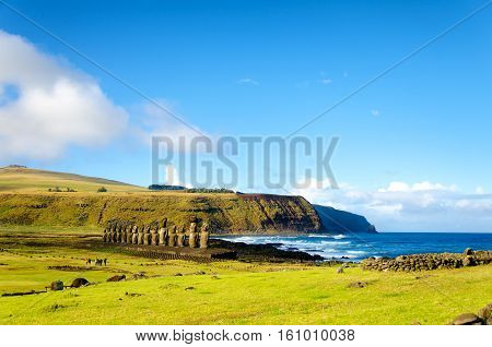 Moai with their backs to the ocean at Ahu Tongariki on Easter Island in Chile