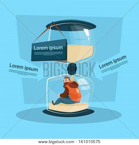 Business Man In Big Sand Watch Deadline Concept Flat Vector Illustration