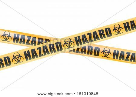 Biohazard Barrier Tapes 3D rendering isolated on white background