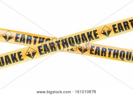 Earthquake Caution Barrier Tapes 3D rendering isolated on white background