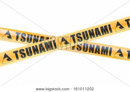 Tsunami Caution Barrier Tapes 3D rendering on white