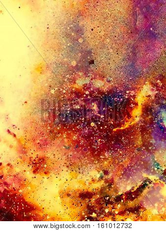 Cosmic space and stars, color cosmic abstract background. Fire effect
