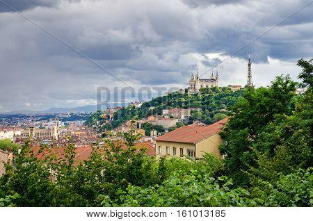 Lyon (France) Notre-Dame de Fourviere and metallic tower