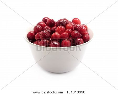Cranberries in round white bowl isolated on white background indoor front view close up