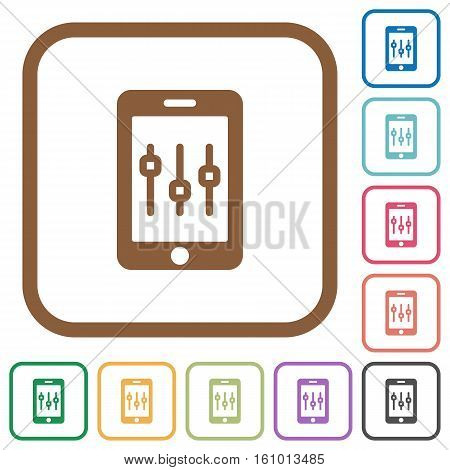 Smartphone tweaking simple icons in color rounded square frames on white background