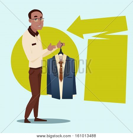 African American Business Man Hold Forma Wear Costume Mix Race Businessman Recruitment Flat Vector Illustration