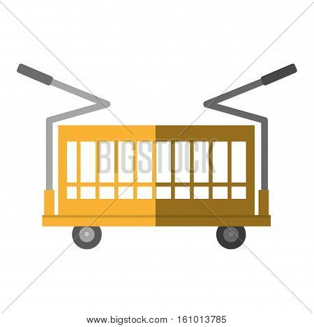 warehouse trolley with protection boxes shadow vector illustration eps 10