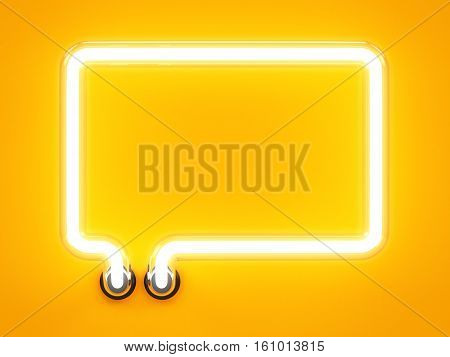 Neon Light Speech Bubble Message Mark Sign