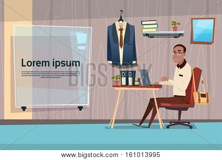 African American Business Man Sitting Desk Working Place Office Interior Mix Race Businessman Flat Vector Illustration