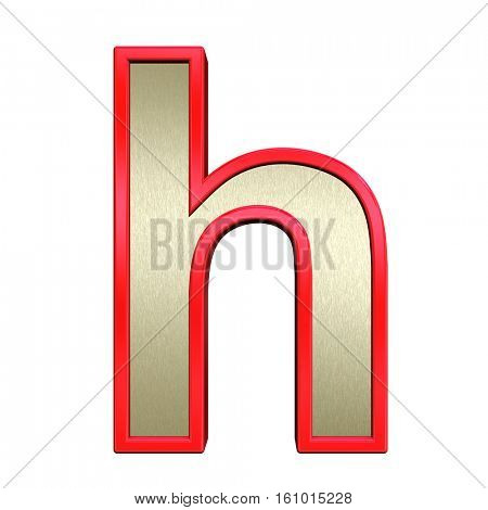 One lower case letter from brushed gold with red frame alphabet set, isolated on white. 3D illustration.