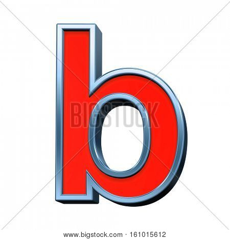 One lower case letter from red with blue frame alphabet set, isolated on white. 3D illustration.