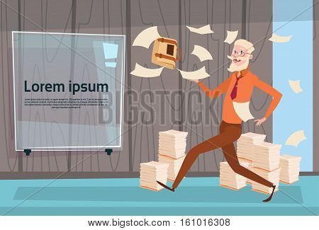 Senior Busy Business Man Run Throwing Paper Documents Paperwork Flat Vector Illustration