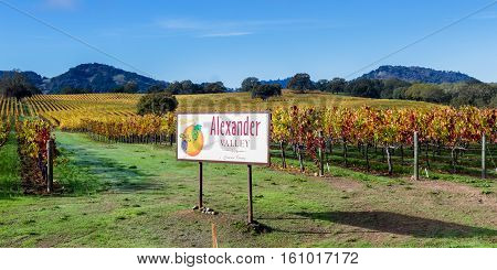 Alexander Valley Welcome Sign