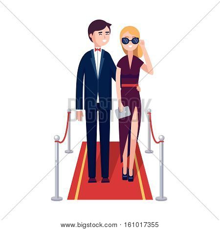 Two rich and beautiful celebrities man and woman walking on a red carpet. Modern colorful flat style vector illustration isolated on white background.