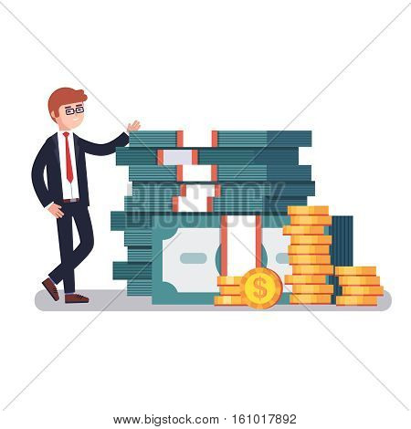 Young business man in suit showing off his money, pile of huge stacked dollar banknotes and gold coins. Modern colorful flat style vector illustration isolated on white background.