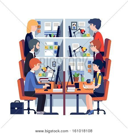 Cubicle office workplaces with employees at the desks. Working hard business people. Modern colorful flat style vector illustration isolated on white background.