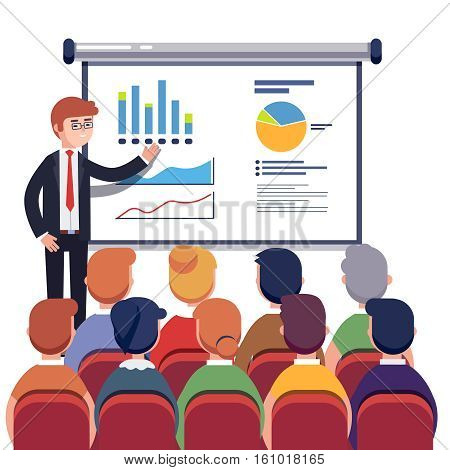 Businessman presenting marketing data on a presentation screen board explaining charts to sales training audience. Business seminar. Flat style vector illustration isolated on white background.