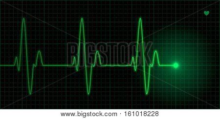 Green heart pulse illustration on black background