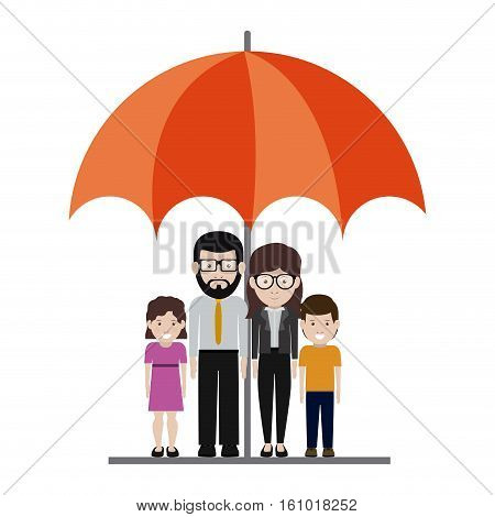 Mother and father with kids cartoon under umbrella icon. Family relationship avatar and generation theme. Isolated design. Vector illustration