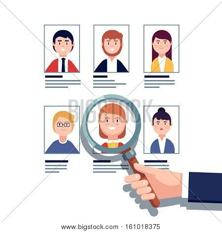 HR manager looking through a magnifying glass on job candidates. Employee hiring research concept. Modern colorful flat style vector illustration isolated on white background.