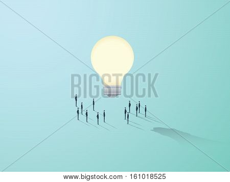 Business creativity vector concept with big light bulb and people standing around. Teamwork brainstorming symbol. Eps10 vector illustration.
