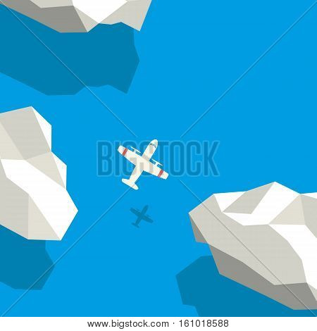Air travel concept with plane symbol flying above clouds. Low polygonal style vector background. Eps10 vector illustration.