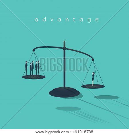 Business woman emancipation. Businessmen and businesswoman standing on scales - gender issues at work. Eps10 vector illustration.