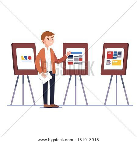 Marketing firm graphic designer showing trademark logotype and corporate identity branding design project on a presentation boards easels. Flat style vector illustration isolated on white background.