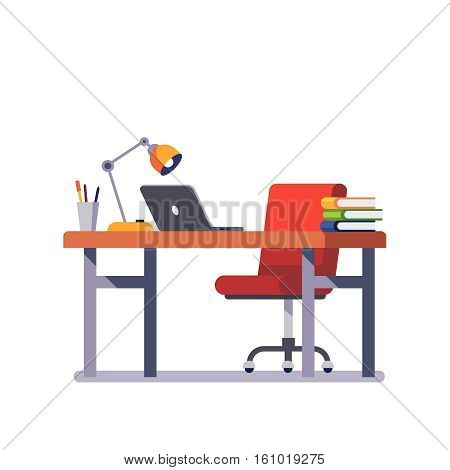 Home or office desk with casters chair, laptop computer, some paper files and binders, lamp and pencil cup. Modern colorful flat style vector illustration isolated on white background.