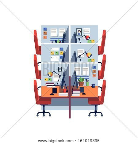 Empty corporate cubicle office work space interior with computers. Modern colorful flat style vector illustration isolated on white background.