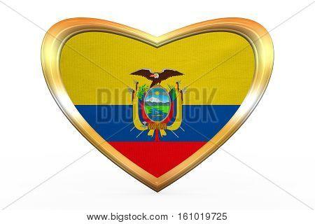 Flag Of Ecuador In Heart Shape, Golden Frame