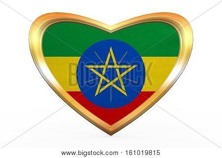 Flag Of Ethiopia In Heart Shape, Golden Frame