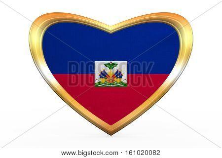 Flag Of Haiti In Heart Shape, Golden Frame