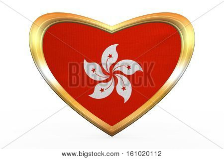 Flag Of Hong Kong In Heart Shape, Golden Frame