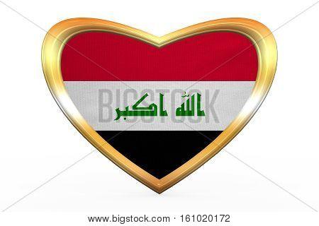 Flag Of Iraq In Heart Shape, Golden Frame