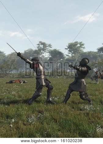 Illustration of two late Medieval knights fighting a battle with swords, digital illustration (3d rendering)