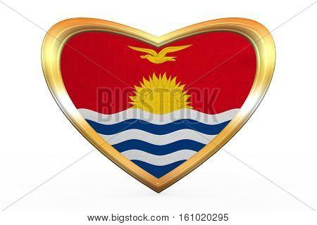 Flag Of Kiribati In Heart Shape, Golden Frame