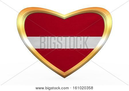 Flag Of Latvia In Heart Shape, Golden Frame
