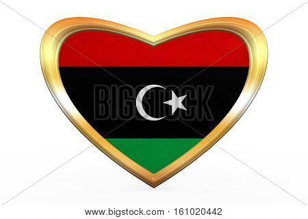 Flag Of Libya In Heart Shape, Golden Frame