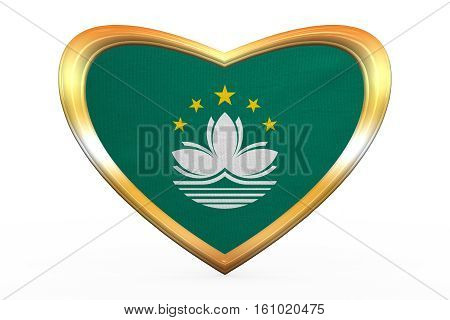 Flag Of Macau In Heart Shape, Golden Frame