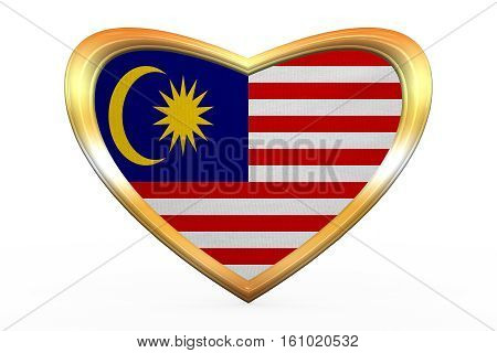 Flag Of Malaysia In Heart Shape, Golden Frame