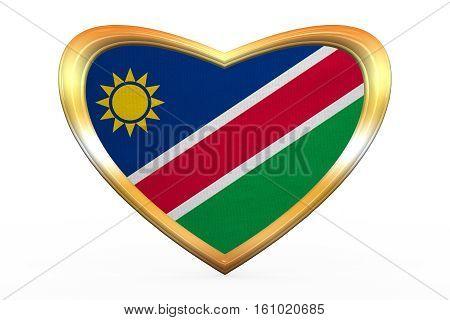 Flag Of Namibia In Heart Shape, Golden Frame